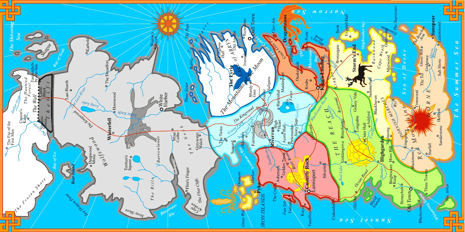 map of westros and the seven kingdoms  game of thrones house  - map of westros and the seven kingdoms  game of thrones house sigils pinterest