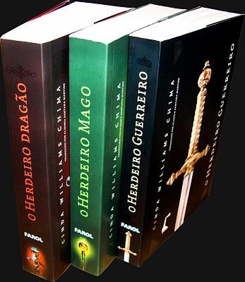 """Visão lateral dos livros da trilogia """"O Herdeiro"""""""
