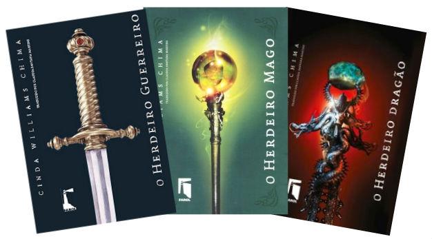 """Capa dos três livros da trilogia """"O Herdeiro"""""""