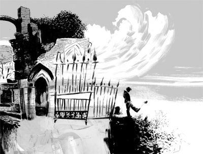 """Ilustração de """"O Livro do Cemitério"""" por Dave McKean"""