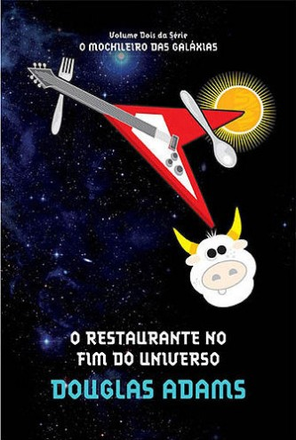 """Capa do Livro """"O Restaurante no fim do universo"""" de Douglas Adams"""