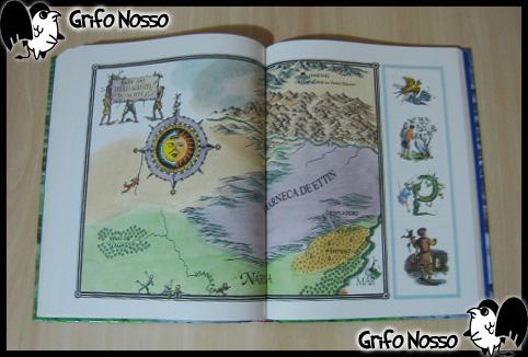"""Ilustração de página dupla do livro """"Crônicas de Narnia"""""""
