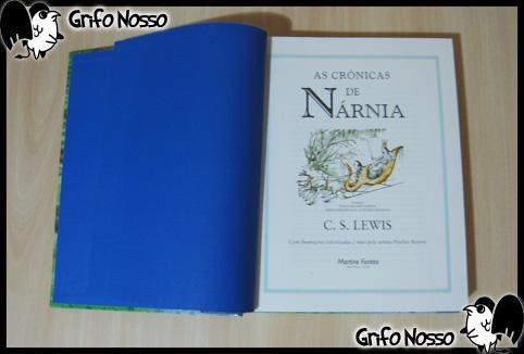 """Primeira página do livro """"Crônicas de Narnia"""""""